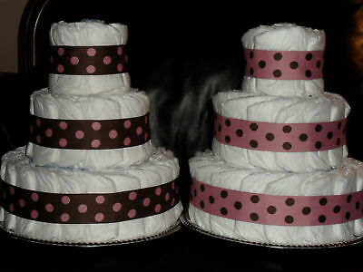 50 Diaper Pink & Brown Diaper Cake