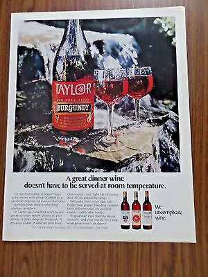 1970 Taylor Wine Ad  A Great Dinner Wine