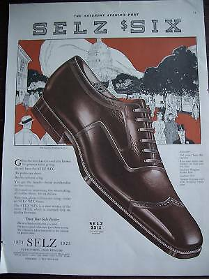 1923 Selz Six Shoes Cherry Red Calfskin COLOR Ad