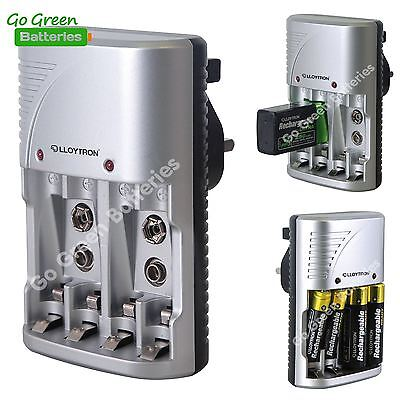 Lloytron B1502 Mains Charger for 9V PP3 AA AAA NiMH Rechargeable Batteries