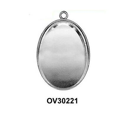 2 or 6pcs Bezel Cup Blanks Base setting Oval 30x22mm Solid Sterling Silver 925