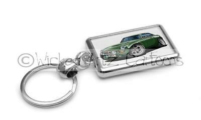 WickedKarz Cartoon Car Rover MGB GT in British Racing Green Stylish Key Ring