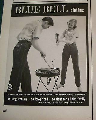 1956 Vintage Blue Bell Clothes JEANS Clothing Ad