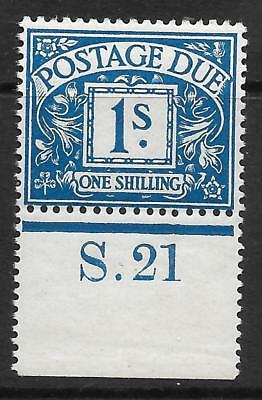 D8/8a 1/- Postage Due S Dot 21 control single UNMOUNTED MINT