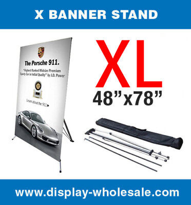 "X Banner Stand Tripod Trade Show Display Large 48"" x 78"" + travel bag"