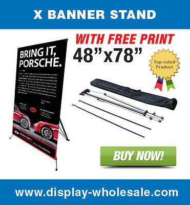 "Giant X Trade Show Banner Stand + 48""x78"" vinyl print"