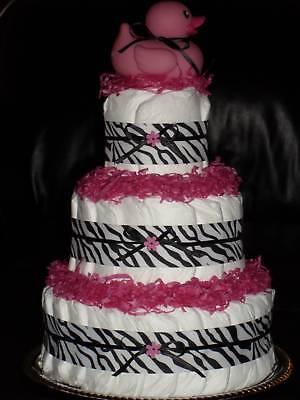 Zebra Print, Blue, Green, Lavender,or Yellow Baby Shower Diapercake
