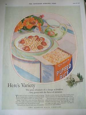 1926 CEREALS variety from quaker puffed rice,wheat.. ad