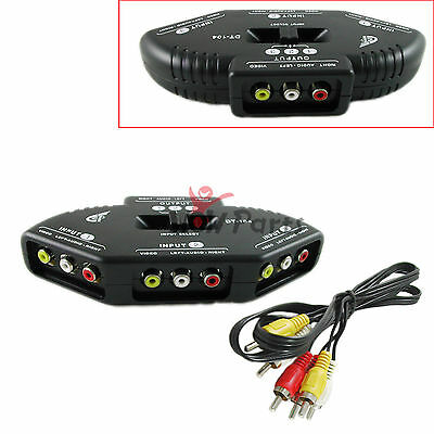 3-Way Audio Video AV RCA Black Switch Selector Box Splitter+3 Way RCA Cable New