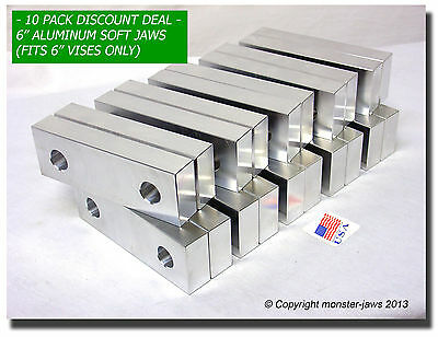 "(10 PACK) 6 x 2 x 1"" Standard Aluminum Soft Jaws Set Fits Kurt 6"" Vises Discount"