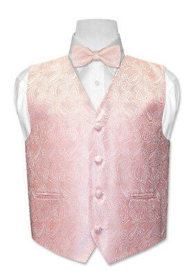 Boy's Vest with Bow Tie Peach/Champagne Paisley Size 8