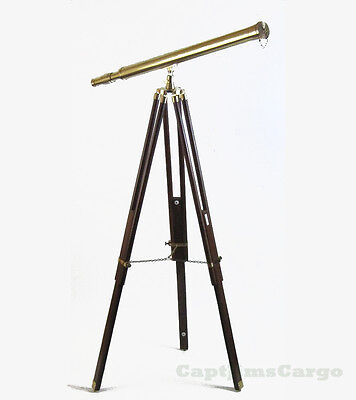 """Harbor Master Telescope Large 38"""" Antiqued Finished Brass w/ Wooden Tripod New"""