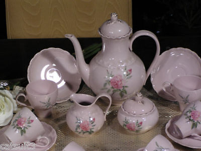 Kaffeeservice Hutschenreuther Porcelaine Rose 12 Pers.