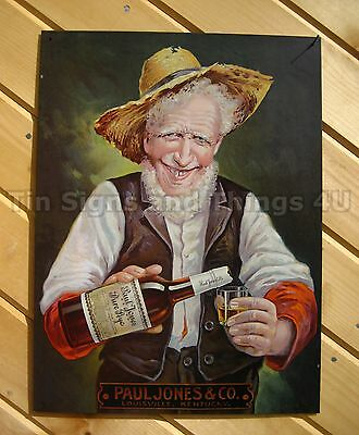 Paul Jones Rye TIN SIGN funny vtg whiskey alcohol ad art bar pub wall decor 1252