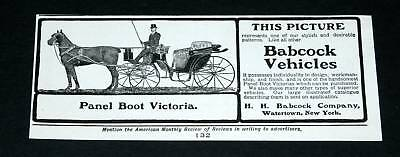 1901 Old Magazine Print Ad, Babcock Carriages, Panel Boot Victoria, Handsome!