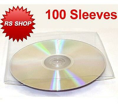 100 Cd Dvd Disc Plastic Sleeve Wallet Case With Flap