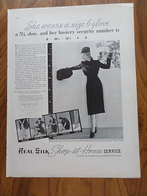 1937 Real Silk Stockings Ad   Hosiery Security Number