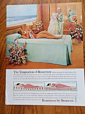 1961 Beautyrest by Simmons Ad Miss Lady Pageant Girl