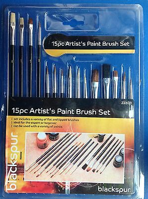 Artist Paint Brush Set Flat Tipped Oil Water - Pack 15
