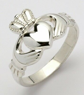 Ladies 14k white gold Irish Handcrafted Genuine Claddagh Ring all sizes