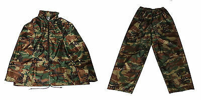 Mens Adults Camo Waterproof Trousers Jacket with Hood or 2 piece Suit