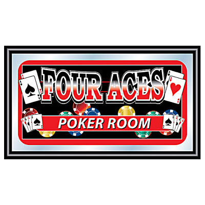 Four Aces Poker Room Framed Bar Mirror - Texas Hold 'Em - Pub Display Decor Art