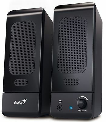 NEW Genius Black Multimedia Stereo Speakers For PC Laptop Computer USB powered