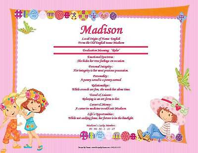 Strawberry Shortcake Personalized Name Room Wall Print