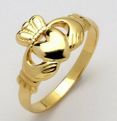 Ladies 10k gold Irish Handcrafted genuine Irish Made Claddagh Ring all sizes