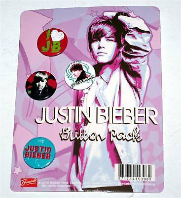 JUSTIN BIEBER Pop R&B Collectable BUTTON SET 4Pc New