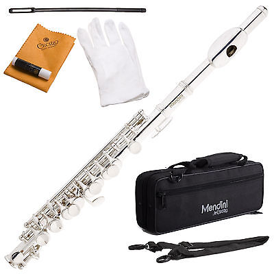Mendini Silver Plated Key Of C Piccolo Plus Case