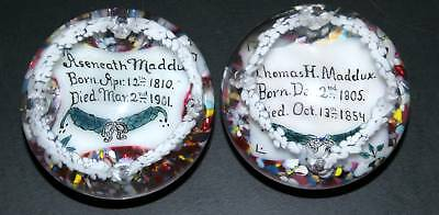 Antique 1900's Memorial Pair Of Glass Paperweights, Husband And Wife, Very Rare!