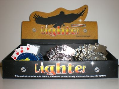 Display Of 15 Gambling Lighters (Poker, Dice, Pkr Chip)