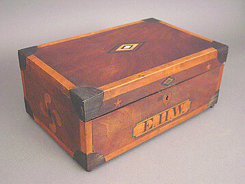 19th-CENTURY SAILOR-MADE INLAID MAHOGANY SEWING BOX