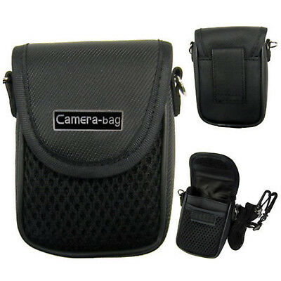 Black Compact Digital Camera Case Universal Soft Bag Pouch + Strap