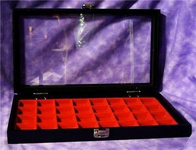 Earring/jewelry 32 Slot Red Glass Top Jewelry Display