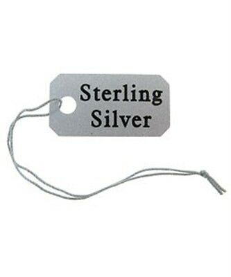100 String Jewelry Tags Imprinted Sterling Silver