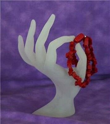 White Frosted Cinching Fingers Display For Rings Etc.