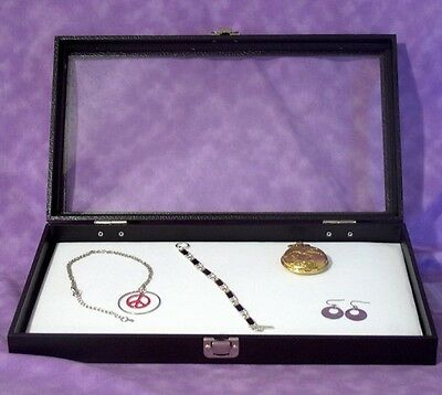 Jewelry Tray With Hinged Glass Lid W/ White Velvet