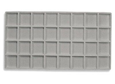 Lot Of 6  Flocked 32 Compartment Gray Insert 14 X 7 1/2