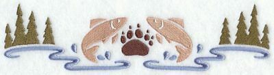 FISH AND BEAR WILDLIFE SCENE EMBROIDERED SET OF 2 BATHROOM TOWELS by laura