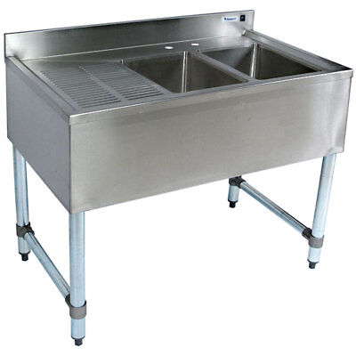 """Stainless Steel Bar Sink - Two Bowl Left Drainboard 36"""""""