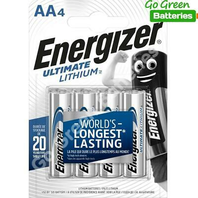 4 x Energizer AA ULTIMATE Lithium Batteries 1.5v LR6 L91 Digital Camera 2036 exp