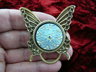 #E-540)  White ice BUTTERFLY Eyeglass BRASS pin pendant holder