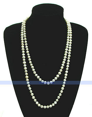 """LONG 50"""" 7mm Genuine Freshwater White Pearl Necklace 