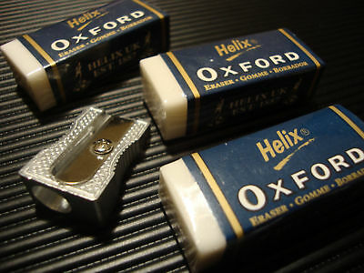 3 Helix Oxford Erasers and 1 Single Hole Metal Sharpener
