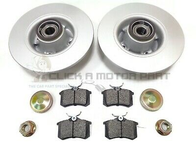 Renault Modus Rear Brake Discs And Pads + Fitted Wheel Bearings & Abs Rings