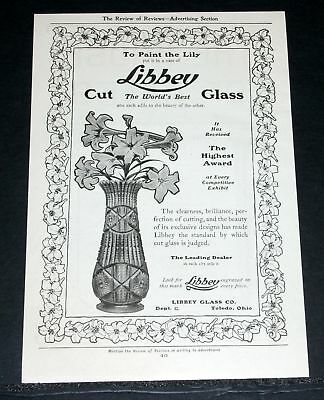1903 Old Magazine Print Ad, Libbey Cut Glass Lily Vase, The World's Best Glass!