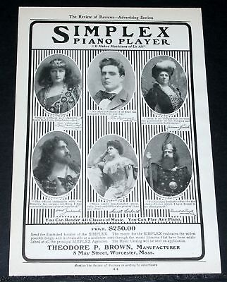 1903 Old Magazine Print Ad, Simplex Piano Player, Opera Stars, You Can Play!