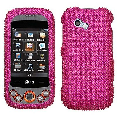 Hot Pink Crystal Bling Hard Case Cover LG Neon II GW370
